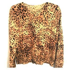 Sweaters - CASHMERE LEOPARD CARDIGAN